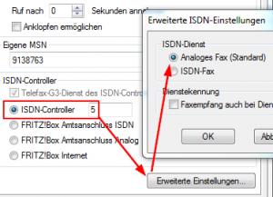 FRITZfax - ISDN-Einstellung - Controller 5
