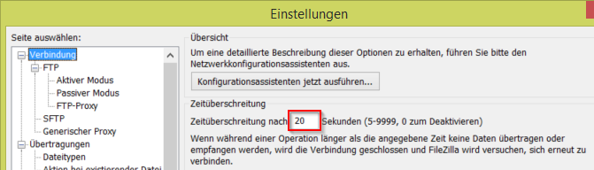 FileZilla Einstellungen Timeout