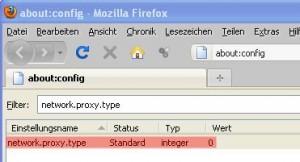 Firefox Proxy deaktivieren über about:config