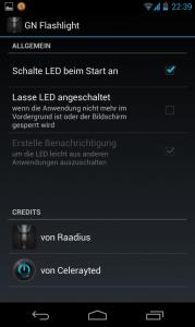 GN Flashlight - Einstellungen