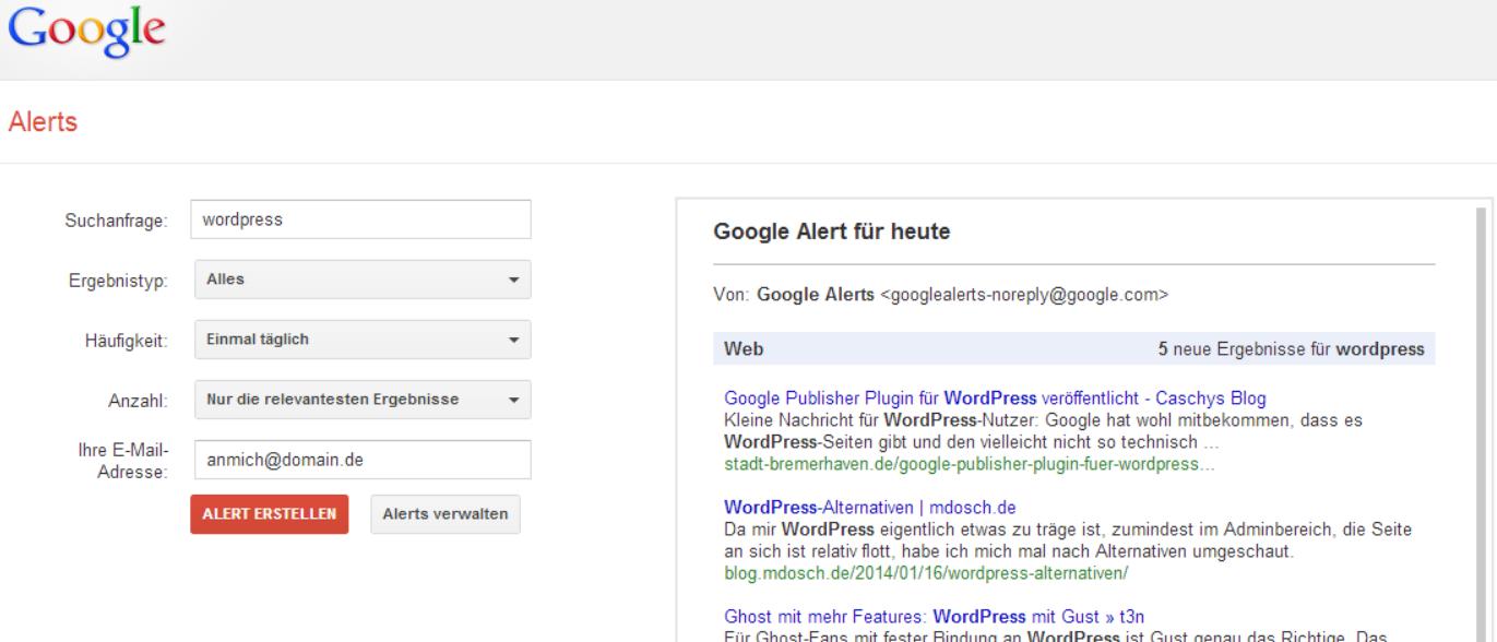 Google Alerts Webseite