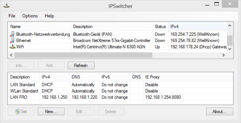 IPSwitcher - Nettzwerkprofile verwalten