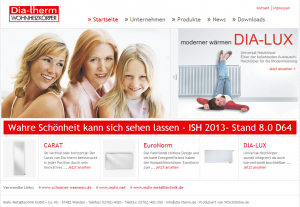 Webseite von  Dia-therm.de