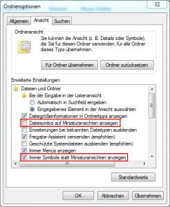 Windows Miniaturansichten - Ordneroptionen