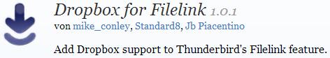 Thunderbird AddOn: Dropbox for filelink