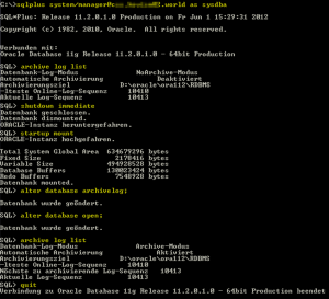 Oracle Archiv-Log-Modus aktivieren