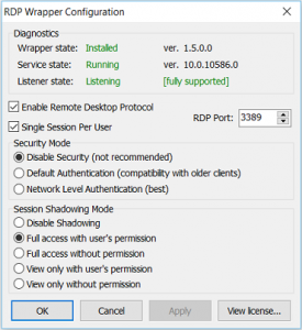 RDP Wrapper Configuration