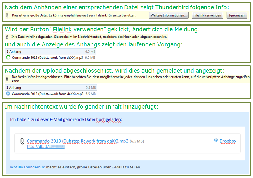 Thunderbird Filelink verwenden