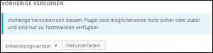 Wordpress PlugIn Versionen